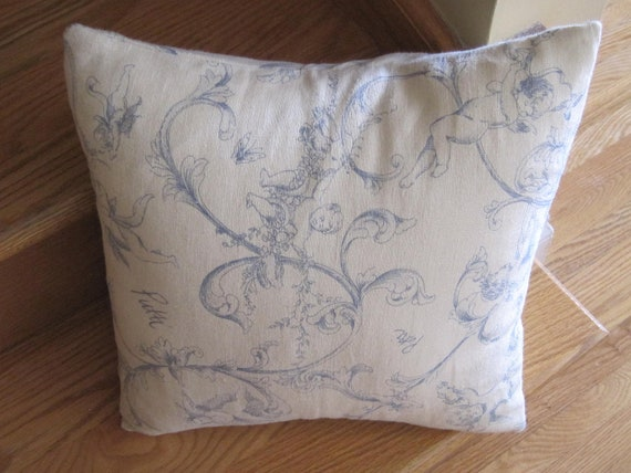 French Toile Linen Pillow Cover in Ivory and Blue, Eco-Friendly, Cherubs and Ribbons