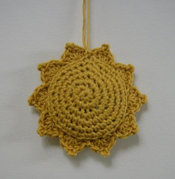 Sunflower Lavender Sachet Crocheted Cotton Golden Yellow Sun Soleil Sachet