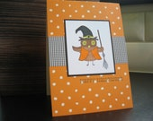 Halloween Card Owl in a Witch Costume Fall Greeting Card