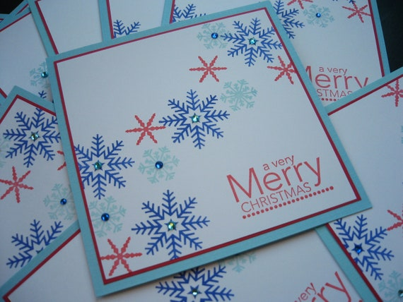 Handmade Snowflake Christmas Cards Set of 10 Patriotic Colors
