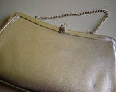 Vintage 1940s 1950s Metallic Silver Leather Clutch Handbag Purse Wedding Bridal Mid Century