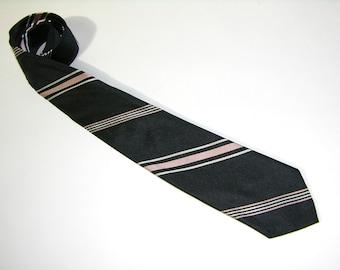 vintage 1960's skinny neck tie. Black w / repp stripe in Pink & White. Scot Ties - All Silk