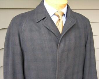 vintage 50's - 60's -Alligator- Men's wool Overcoat. Shadow fade plaid in Blue, Black, & Brown. Size 40 - 42