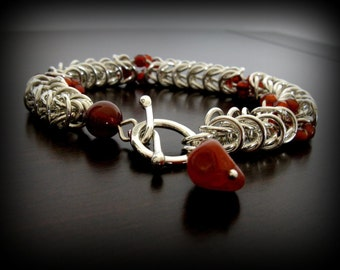 Unique Byzantine Sterling Silver Chainmaille Bracelet  with Carnelian Stone Beads - One of A Kind - Ready to ship