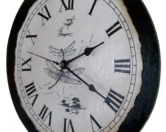 """Vintage Country Style Clock with Dragon Flies, 12"""" x 12"""""""