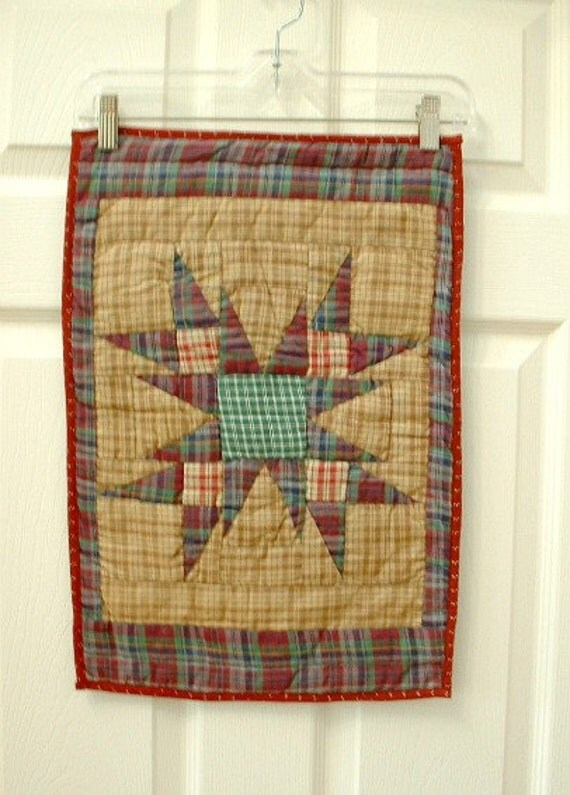 Quilted place mat centerpiece, thick quilted Amish Star pattern. Homespun and ticking cotton fabric. Country Cottage chic