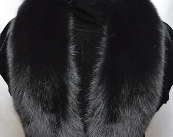 Real Black Fox detachable fur Collar new  made in usa authentic  Genuine