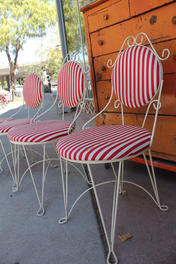 Rare Set Of Four Iron Ice Cream Parlor Cafe Chairs Red And