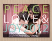 Christmas Cards - DIY Printable Photo Holiday Greeting Card - Peace Love & Joy