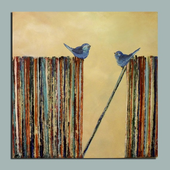 LP records and blue song birds original painting