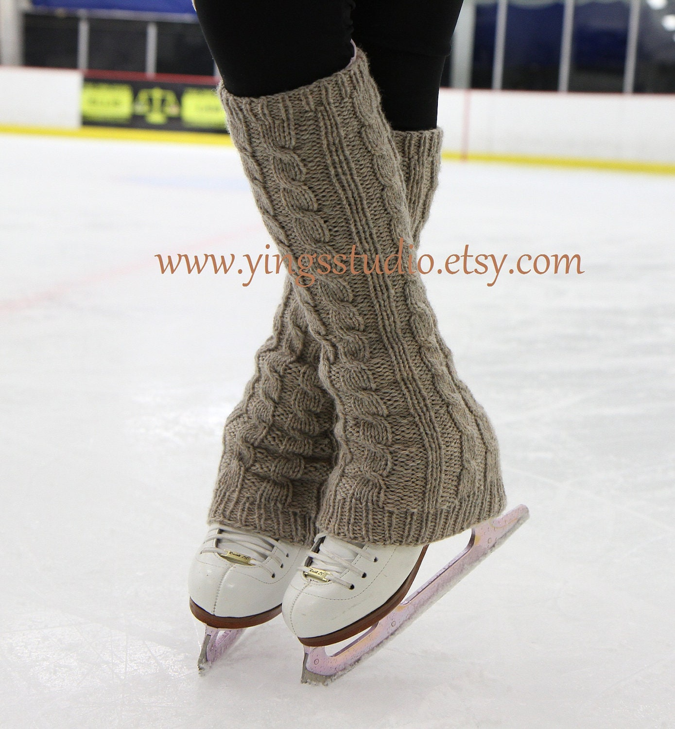 Ready To Shiponly In Beige Color Cable Knit Leg Warmers