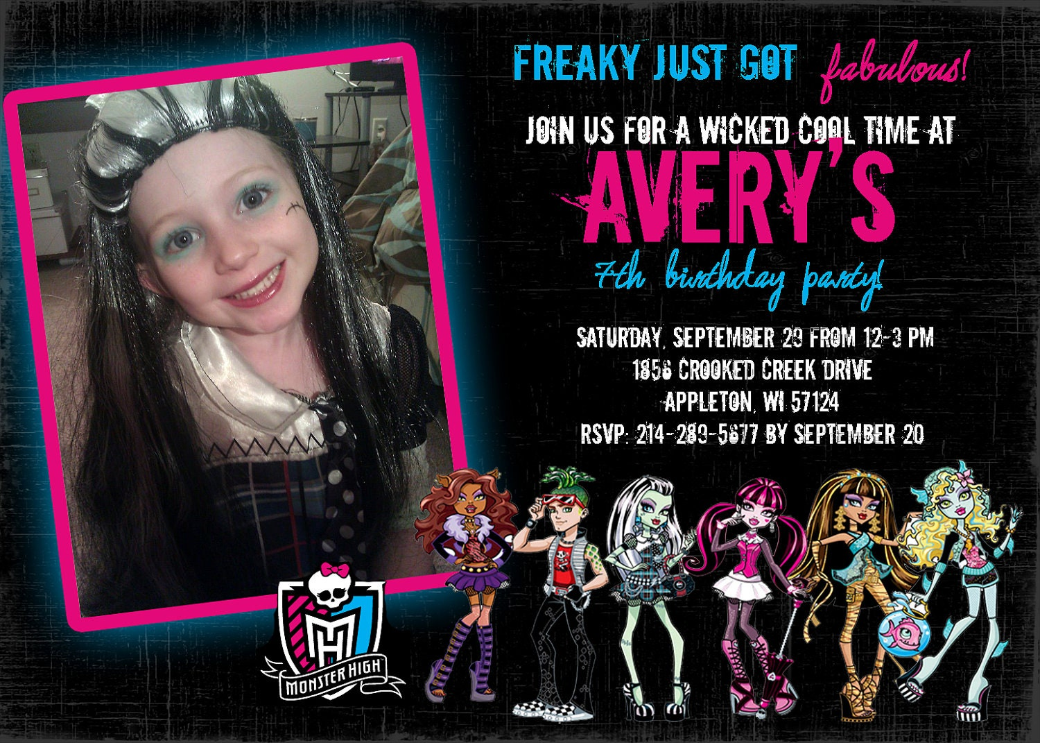It is a photo of Nerdy Free Printable Monster High Invitations