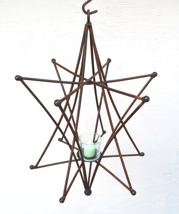 Hanging Candle Holder Large Rustic Iron Star Style