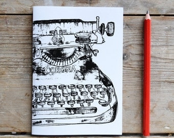 Black Typewriter Unlined Notebook