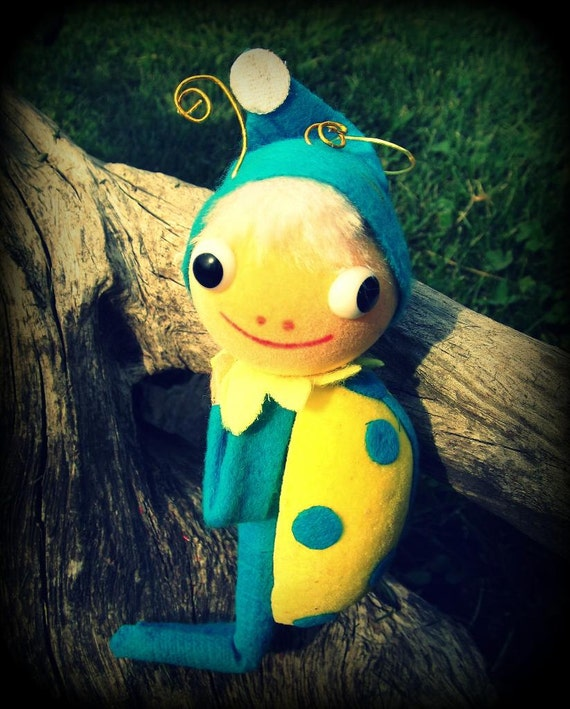 Vintage Christmas Ornament Elf Pixie Lady Bug Insect in Blue and Yellow CUTE