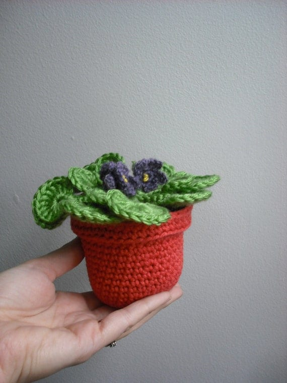 PDF CROCHET PATTERN The Flower Pot Series 03 African Violet Amigurumi