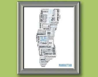 Manhattan Typography Map 8x10 Print