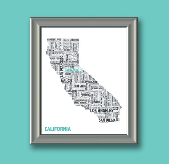 California Typography Map 8x10 Print