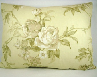 Yellow Pillow Decorative Pillow Floral Vintage Chic Pillow Cottage Chic Lumbar Pillow 13x18 Pillow Cover