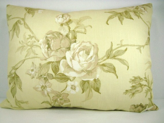 Yellow Pillow Decorative Pillow Floral Vintage Chic Pillow