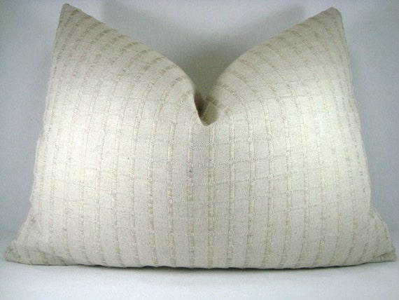 Tone on Tone Decorative Accent Linen Lumbar Pillow 15x20 Pillow Cover