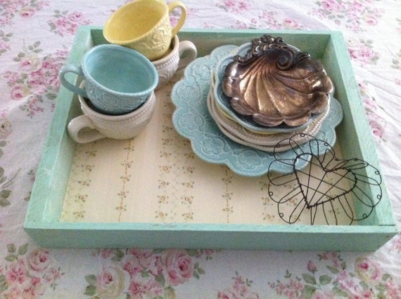 Beautiful Serving Tray Lined with Vintage Shabby Chic Wall Paper - Cottage Chic