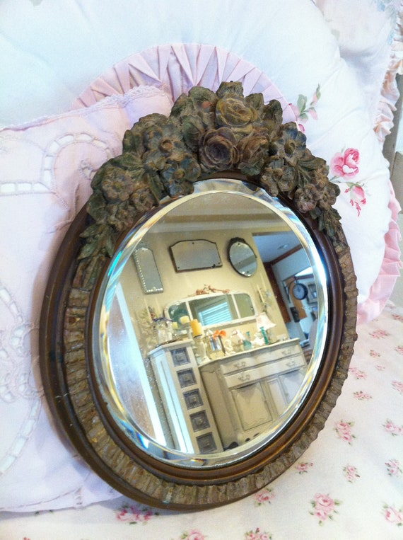 Antique Vintage Barbola Roses Beveled Mirror - Floral Roses - Antique - Shabby French Cottage