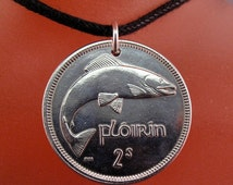 IRELAND  IRISH coin necklace Eire Fish Salmon Harp Pendant.. choose year personalize. mens jewelry  No.00294