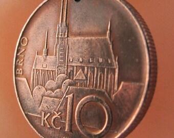 CZECH Necklace /  Czechoslovakia Charm Pendant . Prague Castle Coin Necklace .  No.00969