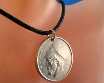 GREEK COIN NECKLACE Greece jewelry hercules  pendant charm . personalized jewelry  No.00289