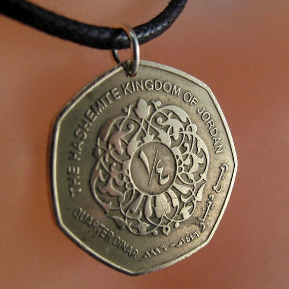 COIN NECKLACE JORDAN coin jewelry . arabic pendant . Kingdom. middle east. .jewellry. Cecile Stewart  No.001170