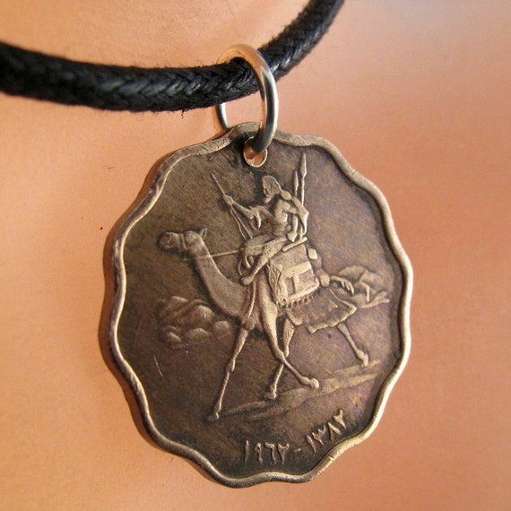 coin jewelry SUDAN necklace. camel. arab. middle east. lawrence of arabia. 5 millim pendant charm No.001122