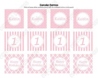 DIY  Shabby Chic  Birthday  Printable Party Circles 2in cupcake toppers pink white damask stripes polka dots
