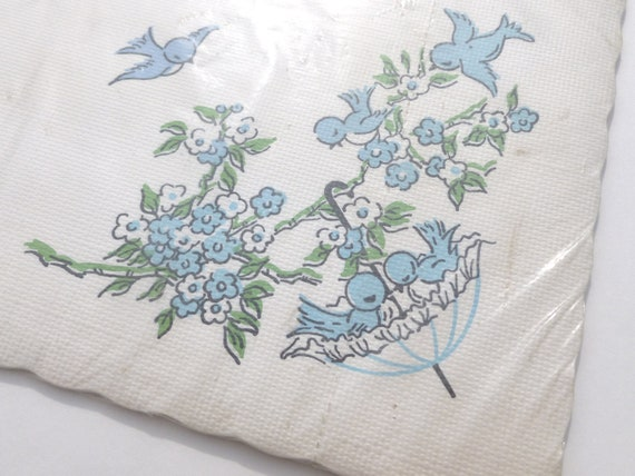 Baby Boy Shower Embossed Paper Placemats Place Mats Scalloped by Graceline Vintage 1960s NOS Blue Birds, Flowers Party or Craft Supplies