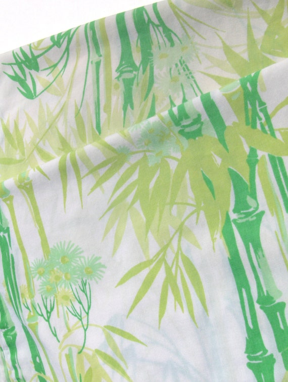 Green Bamboo Pillowcases Pair Chinoiserie Hollywood Regency Style Pillow Case Set of Two