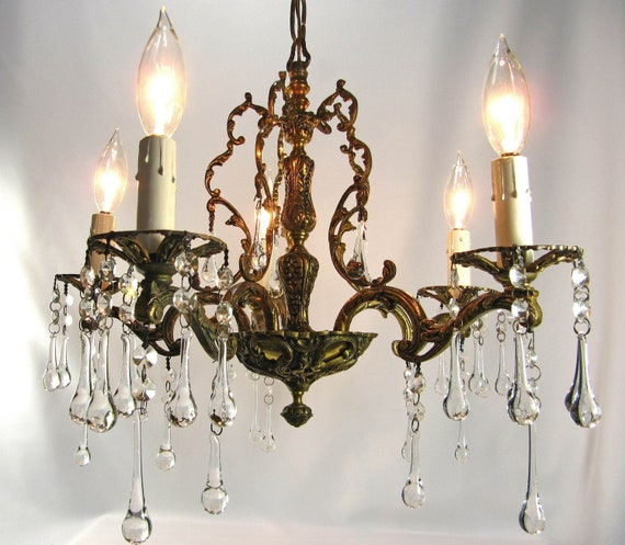 Vintage Chandelier Crystals Spanish Brass 5 Lights Fixture Prisms Made in Spain