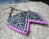 leather pentagon dangle earrings - purple with white tribal geometric designs. ooak. handmade. Yours Only