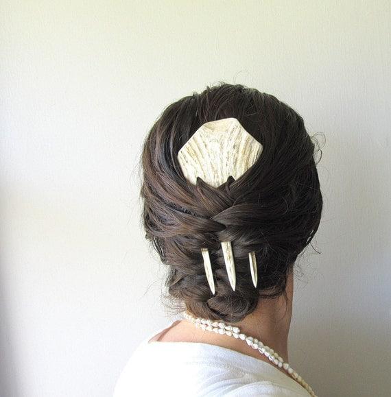 Elk Antler Hair Comb Hair Fork Unusual Statement Hairpiece Tribal Fashion