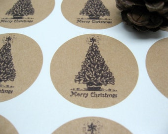 Christmas Stickers, Merry Christmas Seals - Set of 30