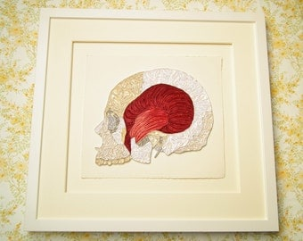 Quilled skull, Fine art anatomical diagram, framed quilled fine art, doctor decor