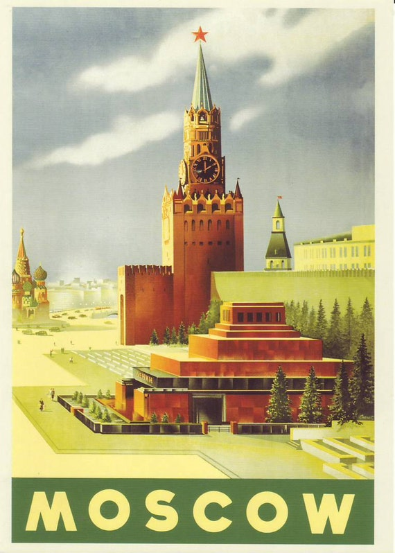 Welcome to the USSR. Soviet Travel Postcard. Moscow. soviet propaganda 1940 kremlin ussr