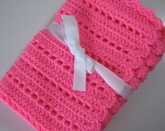 Pink baby blanket crochet