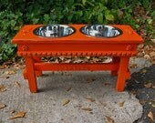 Elevated Dog Feeding Bowl Pet Feeder Cottage Chic Clemson Orange with Copper Underlay For Large Dogs with Paw Print Bowls Made to Order