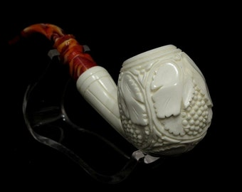 Bent Apple Vineyard Meerschaum Pipes tobacco smoking pipe by Emin Huge Bowl 8380