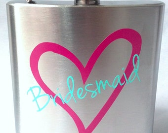 Bridesmaid flask, 6 ounce, stainless steel personalized flask.  Bridesmaids and Maid of honor gift ideas.  Pink and mint heart design.