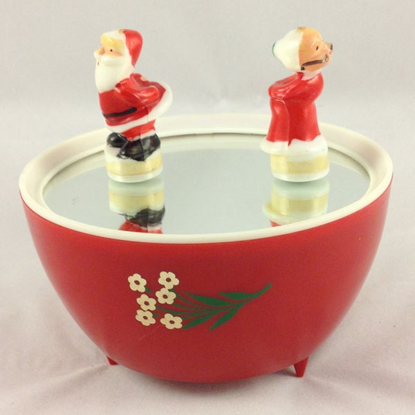 Santa claus music box mr mrs dancing ice skating