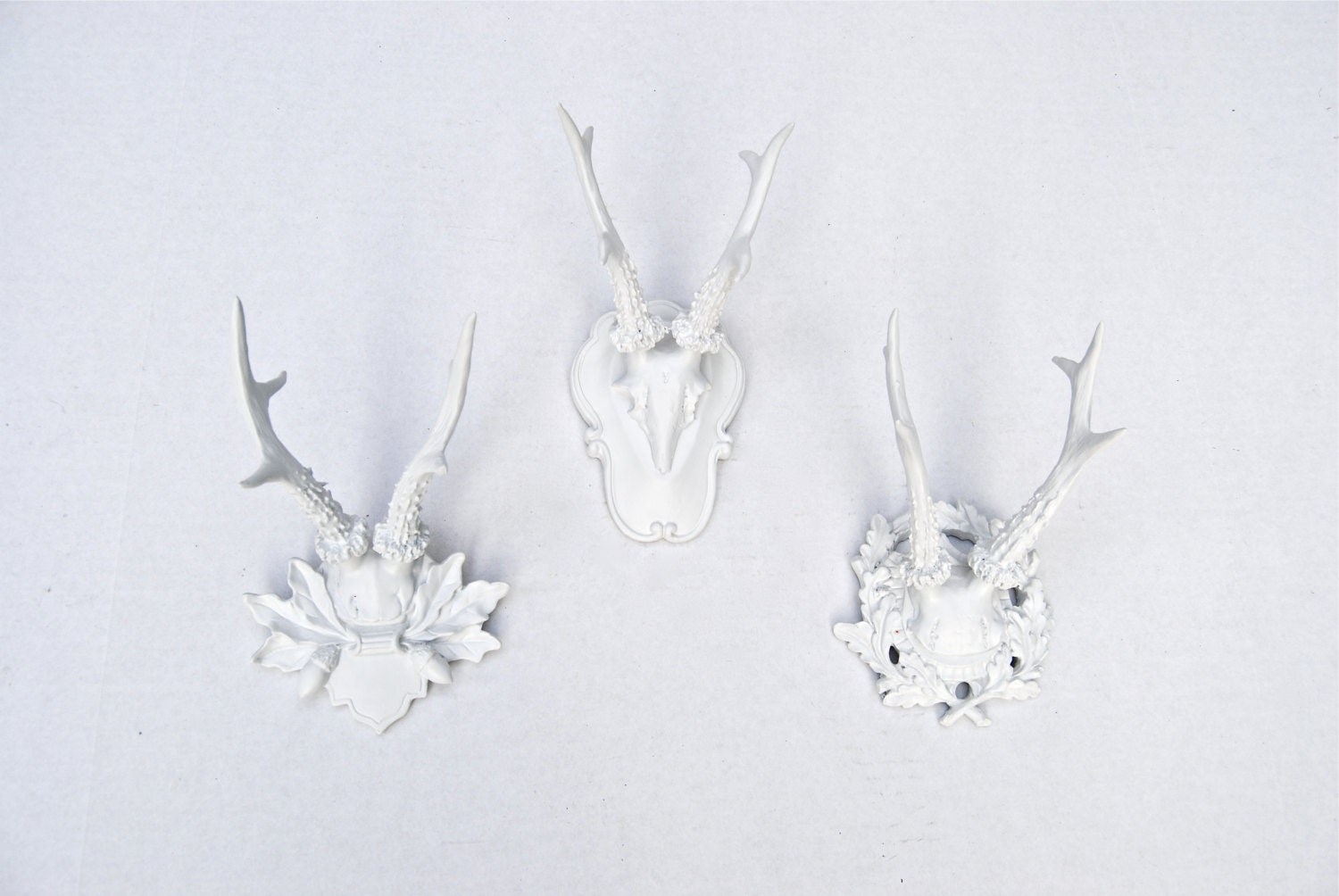 faux taxidermy white gallery wall faux antler collection 3. Black Bedroom Furniture Sets. Home Design Ideas
