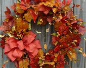 Fall Wreath - Fall Leaves Wreath with Yellow Berries and Fall Bow