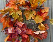Fall Wreath - Fall Wreath with Purple Accents - Purple Fall Wreath with Fall Leaves