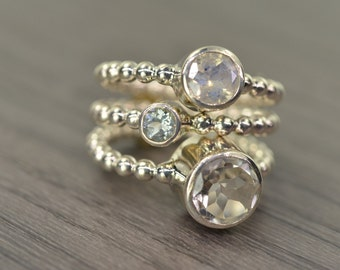 Moonstone Aquamarine Topaz Stack Rings, silver gold trio stacking stackable jewelry - Carmine Rings